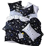 Sookie 3Pcs White and Blue Pentacle Printed Bedding Set for Kids Boys and Girls,Duvet Cover with Twinkling Stars in The Sky -Twin,Black,No Comforter and Sheet