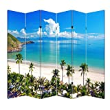 Product review for 4, 6 or 8 Panel Office Wood Folding Screen Decorative Canvas Privacy Partition Room Divider - Beach Huts(6 Panels)