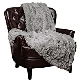 Chanasya Super Soft Shaggy Longfur Throw Blanket | Snuggly Fuzzy Faux Fur Lightweight Warm Elegant Cozy Plush Sherpa Microfiber Blanket | For Couch Bed Chair Photo Props - 60 'x 70' - Grey