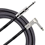Lulu Home 10 Feet Guitar Cable, Professional Instrument Cable, Straight 1/4' TS to Right Angle 1/4' TS for Electric Guitar, Bass, Pro Audio, Grey-White (Grey)