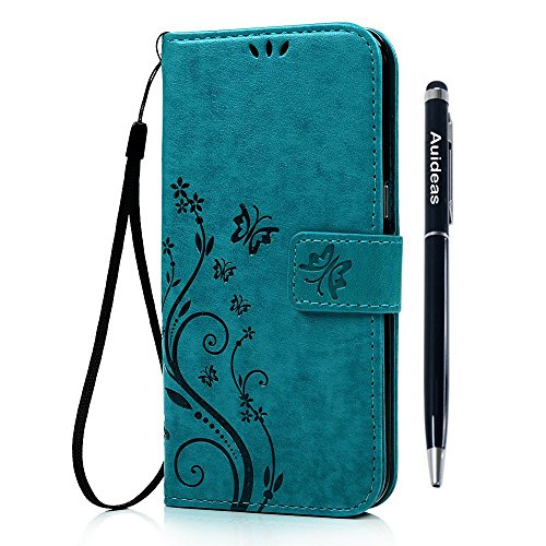 Galaxy J3/J3V/Sol Wallet Case - Auideas Floral Butterfly Embossed PU Leather Magnetic Flip Cover Card Holders & Hand Strap for Samsung Galaxy Amp Prime/ Express Prime /J3 (2016) J320 with Pen - Blue