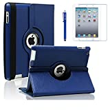 AiSMei Case for iPad 4 (2012), Rotating Stand Case Cover for 9.7-inch Apple iPad A1395, A1396, A1397, A1403, A1416, A1430, A1458, A1459, A1460, Bonus Stylus + Film, Navy Blue