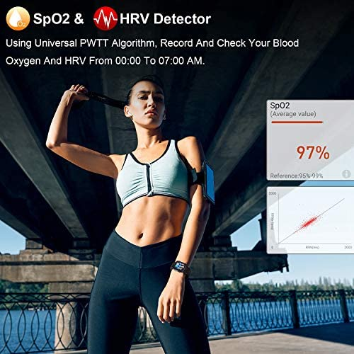 DFG Smart Watch HRV Activity Tracker Blood Oxygen Meter Heart Rate Blood Pressure Monitor Waterproof Fitness Tracker Watch with Sleep Monitor Smart Band Calories Pedometer for Women Men 3