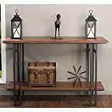 Baxton Studio Newcastle Wood and Metal Console Table, Brown