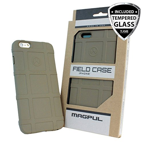 Case for Apple iPhone SE/iPhone 5S / iPhone 5, with [TJS Tempered Glass Screen Protector] Magpul [Field] MAG452 Polymer Case Cover Retail Packaging (Flat Dark Earth)