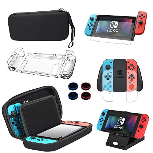 13 in 1 Case & Accessories Kit for Nintendo Switch Comes with BOENFU Switch Game Case, Screen Protector, Jon-Con Grips Caps, Controller Case, Sheets, Joy-Con Cases, Play Stand, Portable Strap