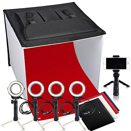 Photo Studio Box, FOSITAN 24×24 inches Table Top Photo Light Box Continous Lighting Kit with 5 Tripods, 4 LED Ring Lights, 4 Color Backdrops & a Cell Phone Holder for Photography