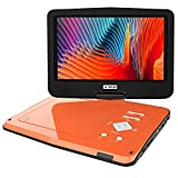 BOIFUN 12.5 inch Portable DVD Player with Eye-Protective Swivel Higher Brightness HD Screen, 5 Hours Rechargeable Battery, SD Card & USB Directly Play, Region Free, Car Charger, Loud Volume, Orange
