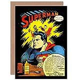 Wee Blue Coo Vintage Comic Book Headache Superman Advert New Blank Greetings Card