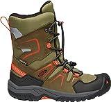 KEEN - Kid's Levo Waterproof, Insulated Snow Boots for Winter, Black Olive/Pureed Pumpkin, 1 M US Little Kid