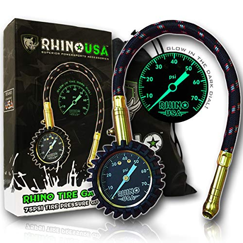 Rhino USA Heavy Duty Tire Pressure Gauge (0-75 PSI) - Certified ANSI B40.1 Accurate, Large 2' Easy Read Glow Dial, Premium Braided Hose, Solid Brass Hardware, Best for Any Car, Truck, Motorcycle, RV…