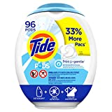 Tide Free and Gentle Laundry Detergent Pods, 96 Count, Unscented and Hypoallergenic for Sensitive Skin