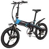 LANKELEISI G660 20 Inch Folding Electric Bicycle 48V/240W 10.4Ah Lithium Battery 7 Speed Assist E-Bike - 5 Gear Positions Mini Mountain Bike for Men Women (Black-Blue)