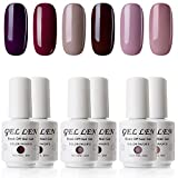 Gellen UV Gel Polish 6 Colors Dark Shade Understated Elegance Colors - Soak Off Home Gel Manicure Set, 8ml Each