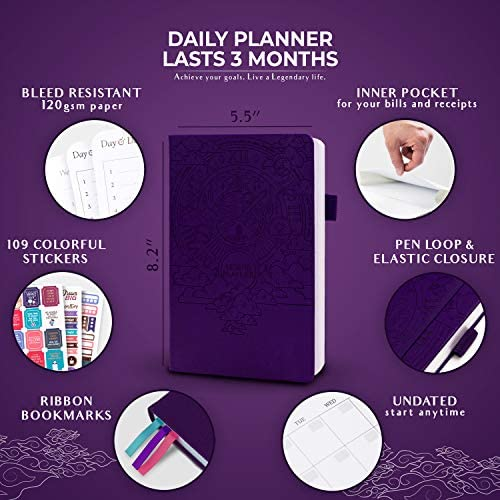 Legend Planner Daily for 3 Months - Undated Deluxe Monthly Weekly & Daily Planner to Hit Your Goals & Live Happier. Organizer Notebook & Productivity Journal. A5 Hardcover + Stickers - Dark Purple 2