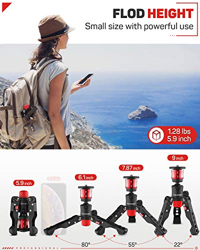 IFOOTAGE-Tabletop-Tripod-Portable-Desktop-Mini-Tripod-Stand-with-38-and-14-inches-Quick-Release-Plate-Max-Load-176-lbs-for-DSLR-Camera-Video-Camcorder-Mobile-Phone-and-Action-Cameras