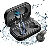 Bluetooth 5.0 Earbuds Graphene Driver Technology Mini True Wireless Earphones for Running with Mic IPX7 Waterproof TWS Stereo Headphones in-Ear for Sports Truly Noise-Canceling