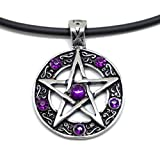 "JUICY ACCESSORIES BY JUICY SKIN CARE 18"" PVC Necklace + Color Star Pentagram Pentacle Pagan Wiccan Witch Gothic Pewter Pendant (6 of Rhinestone in Purple)"