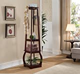 Kings Brand Furniture Entryway Coat Rack with Storage Shelves & Drawer, Cherry