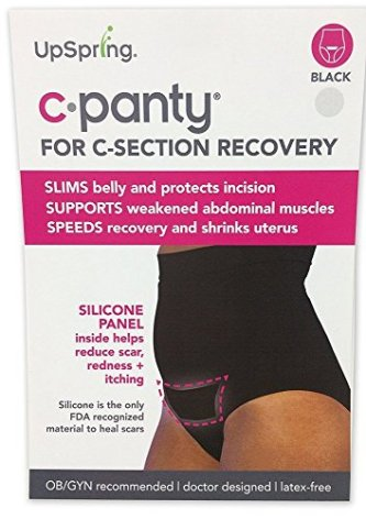 UpSpring C-Panty High Waist C-Section Support, Recovery & Slimming Panty with C-Section Scar Healing - OBGYN Recommended S/M Black