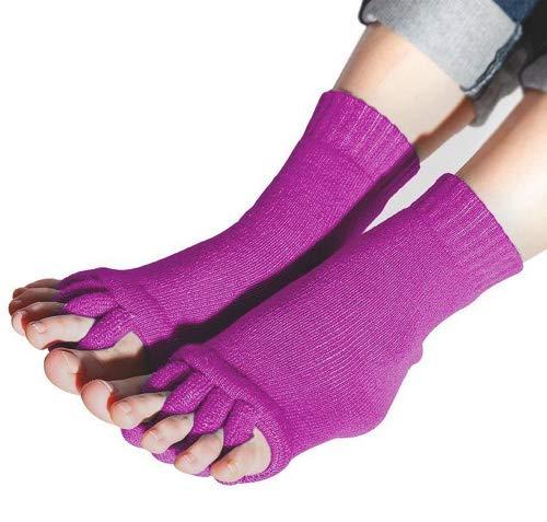Flesser Yoga Sports GYM Five Toe Separator Socks Alignment Pain Health Massage Socks (Purple)