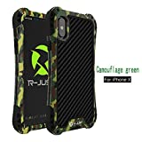 R-JUST Case for iPhone X Extreme Aluminum Premium Shockproof/Dustproof/Water-resistant Cell Phone Casing Cover Protection System with Durable Glass Film (Camouflage)