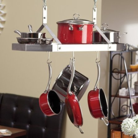 Contemporary-Stainless-Steel-Octagonal-Hanging-Pot-Rack