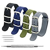 CIVO NATO Strap 4 Packs - 20mm 22mm Premium Ballistic Nylon Watch Bands Zulu Style with Stainless Steel Buckle (Black+Army Green+Navy Blue+Grey, 20mm)