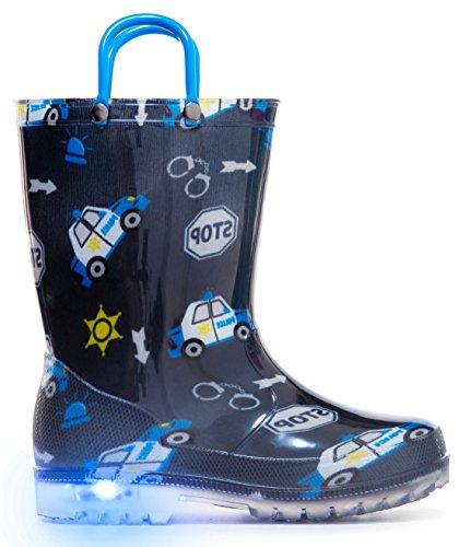 MOFEVER Toddler Kids Printed Light Up Rain Boots
