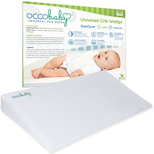 OCCObaby Universal Crib Wedge Pillow for Baby Mattress | Waterproof Layer & Handcrafted Cotton Removable Cover | 12-Degree Incline for Better Night's Sleep