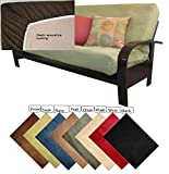 OctoRose Full Size Elastic Around on Backing Bonded Micro Suede Easy Fit Fitted Futon Cover Sofa Bed Mattress Slipcovers (Sage Green) (Cover Only, Mattress and Flame NOT Included)