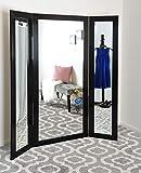 BrandtWorks, LLC AZBM80TRIFOLD Trifold Dressing Mirror, Brushed Black