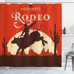 Rodeo Cowboy Riding Bull Shower Curtain