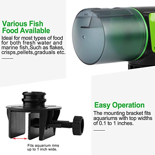 Automatic Fish Feeder for Aquarium Tank, Moisture-Proof Electric Auto Fish/Turtle Feeder for Flakes, Aquarium Tank Timer Feeder Vacation &Weekend Fish Food Dispenser 4
