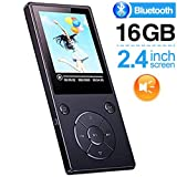 DeeFec 16GB Bluetooth4.1 MP3 Music Player Built-in Speaker with 2.4inch HD Screen, FM Radio, Voice Recorder Functions Metal Body, Support SD Card up to 128GB - Black