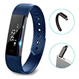 Fitness tracker watch, Hembeer V1 Smart Band with Step Tracker, Pedometer Bluetooth Bracelet Activity Tracker/ Sleep Monitor, Calories Track Sweatproof Health Band for iPhone & Android phones, Blue