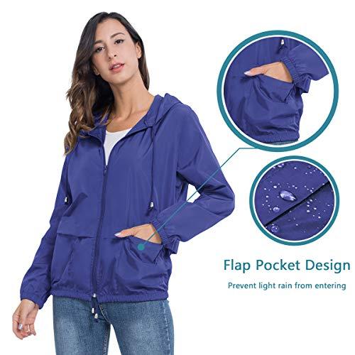 JTANIB Women's Lightweight Hooded Waterproof Raincoat Windbreaker Packable Active Outdoor Rain Jacket 17 Fashion Online Shop gifts for her gifts for him womens full figure