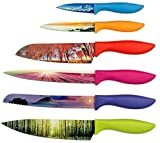 Landscape Kitchen Knife Set in Gift Box - Unique Gifts For Her and For Him - 6-Piece Colored Sharp Chef Knives Set