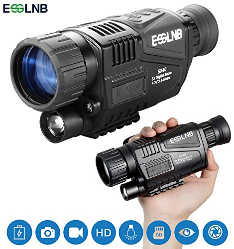 """ESSLNB Night Vision Monocular 5X40 Night Vision Infrared IR Camera HD Digital Night Vision Scopes with 1.5"""" TFT LCD Take Photos and Video Playback Function 8GB TF Card for Hunting Security Surveilla"""