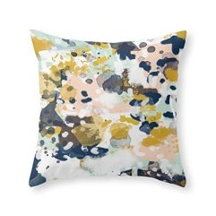 CoolDream Abstract Painting In Modern Fresh Colors Navy, Mint, Blush, Cream, White, And Gold Throw Pillow Cover 18 x 18 Inches