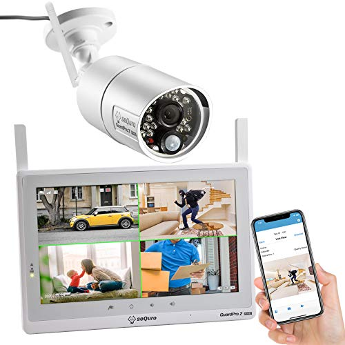 SEQURO-GuardPro2-Plus-1080P-Home-Surveillance-Camera-System-Wireless-IP66-Outdoor-Camera-and-10-inch-Touchscreen-Monitor-Real-Day-and-Night-Vision-for-Home-Warehouse-Barn-Driveway-10-1-cam-kit