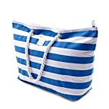 Large Canvas Beach Bag - Top Zipper Closure - Waterproof Lining - Perfect Tote Bag For Holidays (Blue)