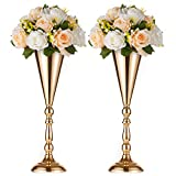 Sfeexun 2 Pcs/Set Tabletop Metal Wedding Flower Trumpet Vase Table Decorative Centerpiece Artificial Flower Arrangements for Anniversary Ceremony Party Birthday Event Aisle Home Decoration