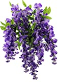 Artificial Wisteria Long Hanging Bush Flowers - 15 Stems For Home, Wedding, Restaurant and Office Decoration Arrangement, Lavender