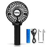 Welltop Mini Handheld Fan Rechargeable Battery Operated Fan Portable Personal Cooling Fan Foldable Desk Table Fan for Household Office Outdoors Traveling (Black)