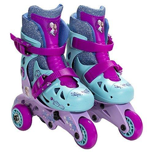 Disney Frozen Adjustable 2-in-1 Convertible Glitter Trainer Skates/Rollerblades w/ Wrist Guards, Ages 3-6, Size Range J6-J9