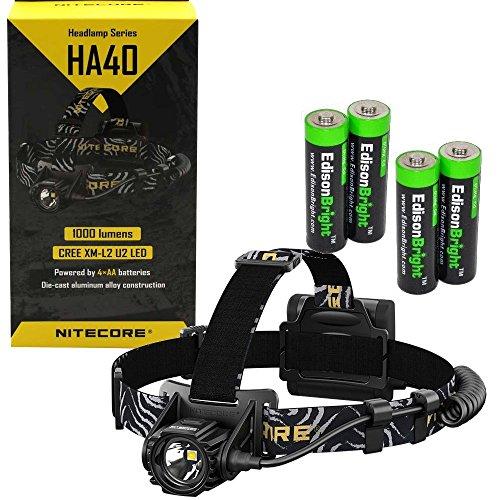 Nitecore HA40 1000 Lumen CREE LED Headlamp with 4 X EdisonBright AA Alkaline batteries bundle