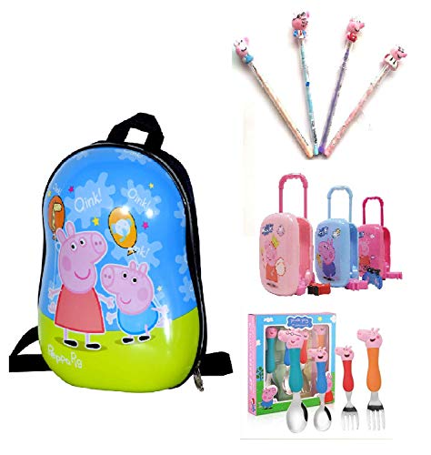 D Paradise Cartoon Print ABS Polycarbonate Peppa Pig Family Hard Shell School Bag/Picnic Bag and Pig Family Stainless Steel Fork and Spoon Set