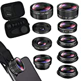 iPhone Lens Kit, Phone Lens for Andriod, Cell Phone Lens Lentes del Telefono for iPhone Xr, 7 Plus, 8 Plus, Xs max, Samsung. Macro+Telephoto Zoom+Fisheye+CPL+Wide Angle+Starburst+Kaleidoscope Lens