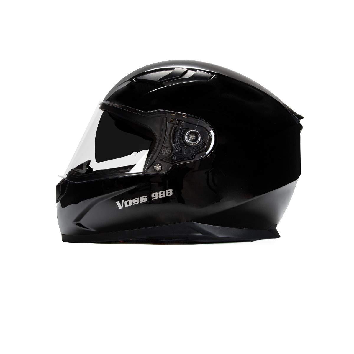 Voss 988 Moto-1 Street Full Face Helmet with Drop Down Internal Sun Lens - L - Solid Gloss Black